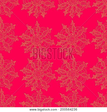 Exotic decorative flowers yellow color outline on a pink background. Seamless floral tropical pattern. Vector hand drawn illustration.