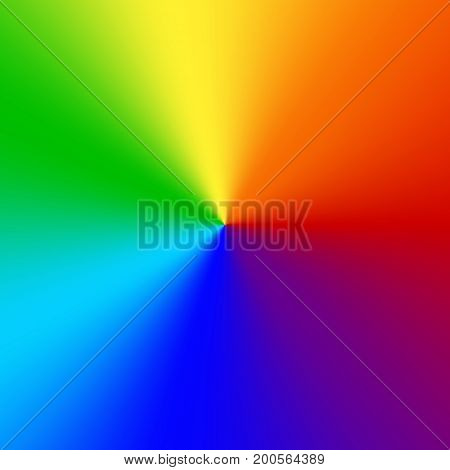 Bright multicolored radial background with rainbow colors.