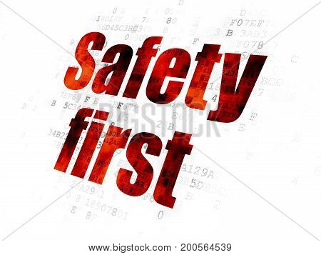 Protection concept: Pixelated red text Safety First on Digital background
