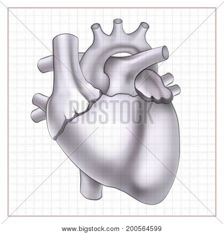 Medical organ template with human heart on blank paper sheet in sketch style isolated vector illustration