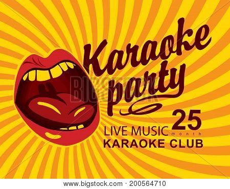 Vector banner for club live music with mouth singing karaoke and calligraphic inscription Karaoke party on yellow abstract background