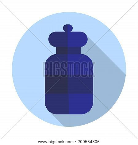 Round bottle icon. Flat illustration. Vector illustration
