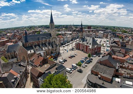 Sint Truiden cityscape with the Grote Markt and Onze Lieve Vrouwkerk in Belgium
