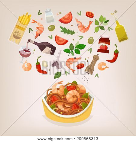 Famous dish of italian cuisine. Pasta with shtimps tomato sauce and basil. Ingredients floating in the air over perfect spaghetti Marinara on the plate. Vector illustration.