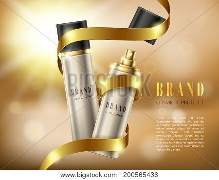 Vector 3D illustration poster with cosmetic premium products for face, body or hair. Silver spray bottles in a realistic style on background with golden ribbon and bokeh effect