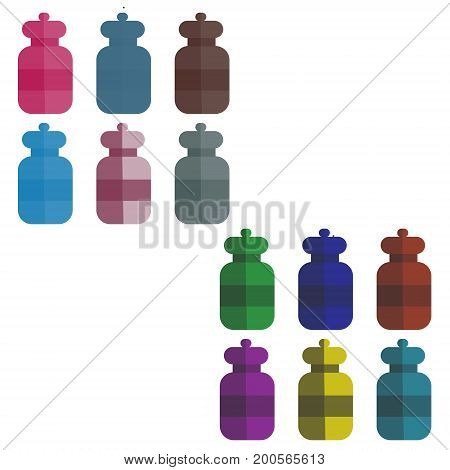 set of multi-colored bottles in the style of flat. vector illustration