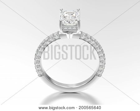 3D illustration white gold or silver decorative diamond ring with reflection on a white background
