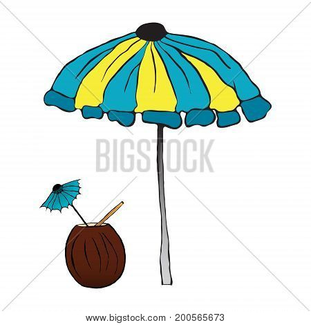 Summer cocktail under the umbrella. vector illustration. Drawing by hand