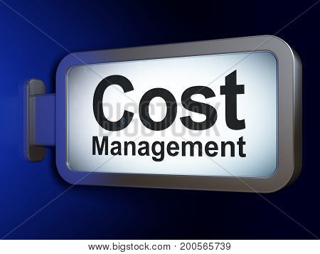 Business concept: Cost Management on advertising billboard background, 3D rendering