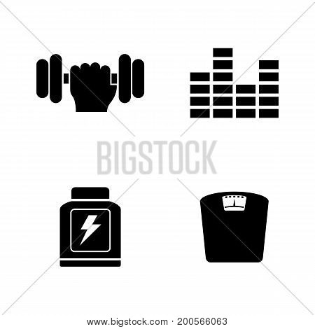Training. Simple Related Vector Icons Set for Video, Mobile Apps, Web Sites, Print Projects and Your Design. Black Flat Illustration on White Background.