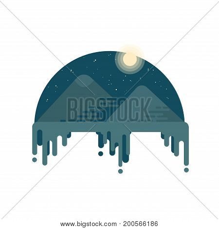 Pyramids Of Giza At Night. The Night Desert. Flat Style Illustration