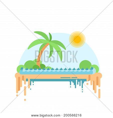 Flat Design Of Desert Oasis. Cartoon Vector Illustration