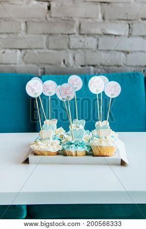Beautiful Blue And White Cupcakes With The Words Hen Party