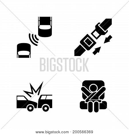 Auto safety belt. Simple Related Vector Icons Set for Video, Mobile Apps, Web Sites, Print Projects and Your Design. Black Flat Illustration on White Background.