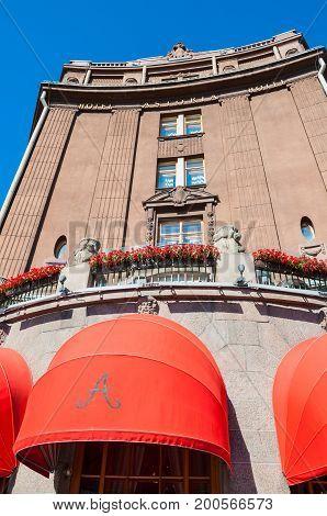 ST PETERSBURG RUSSIA - AUGUST 15 2017. Famous Astoria hotel at Bolshaya Morskaya street in St Petersburg Russia in sunny day -closeup facade perspective view of St Petersburg landmark