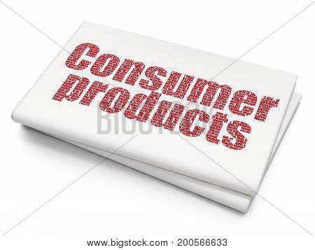 Finance concept: Pixelated red text Consumer Products on Blank Newspaper background, 3D rendering