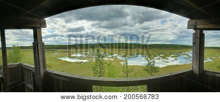 Panoramic View Out Of Bird Watching Tower At Vaejtjaernen In Vaermland, Sweden