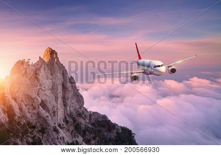 Airplane Is Flying Over Clouds At Sunset. Landscape