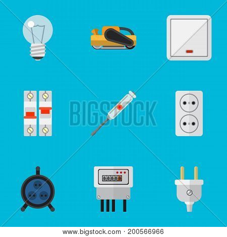 Set Of 9 Editable Instruments Flat Icons. Includes Symbols Such As Sandblast, Bulb, Socket