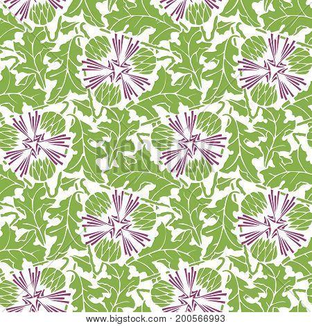Greenery blowball seamless pattern background illustration.