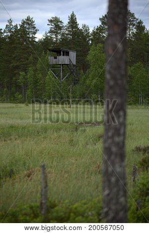 Bird Watching Tower At Vaejtjaernen In Vaermland, Sweden