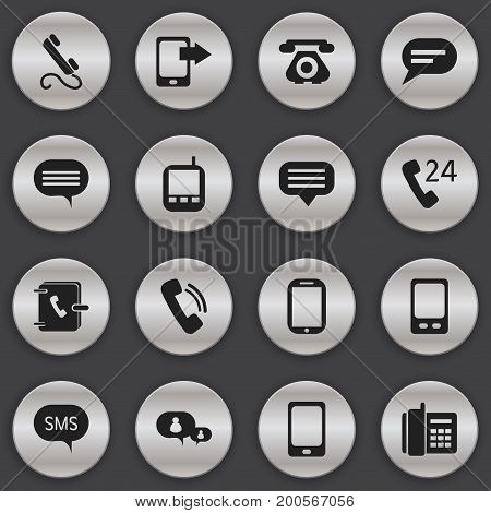 Set Of 16 Editable Device Icons. Includes Symbols Such As Share Display, Mobile, Address Notebook And More