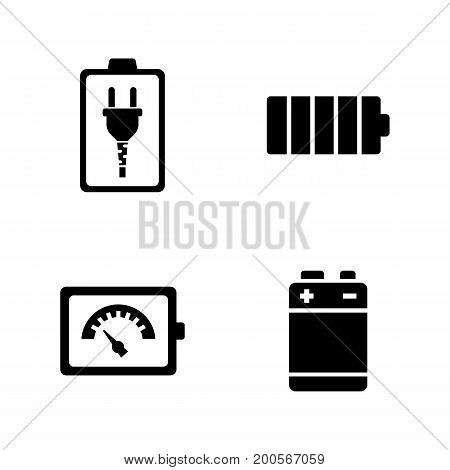 Battery. Simple Related Vector Icons Set for Video, Mobile Apps, Web Sites, Print Projects and Your Design. Black Flat Illustration on White Background.