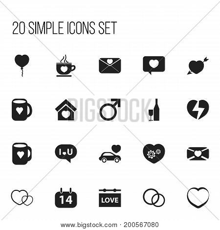 Set Of 20 Editable Passion Icons. Includes Symbols Such As Affection Letter, Tea Mug, Building And More