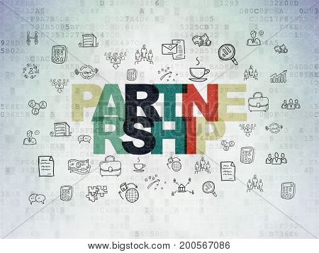 Finance concept: Painted multicolor text Partnership on Digital Data Paper background with  Hand Drawn Business Icons