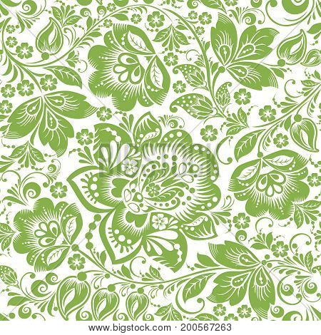 Greenery russian floral seamless pattern background, illustration. Spring style