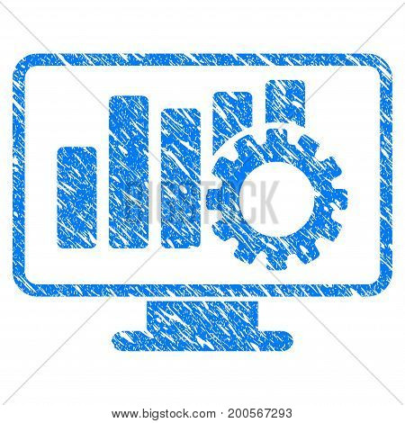 Grunge Chart Configure Display icon with grunge design and dust texture. Unclean vector blue pictogram for rubber seal stamp imitations and watermarks. Draft sticker symbol.