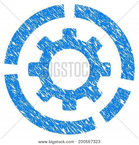 Grunge Circle Diagram Configuration Gear icon with grunge design and dirty texture. Unclean vector blue pictogram for rubber seal stamp imitations and watermarks. Draft sign symbol.