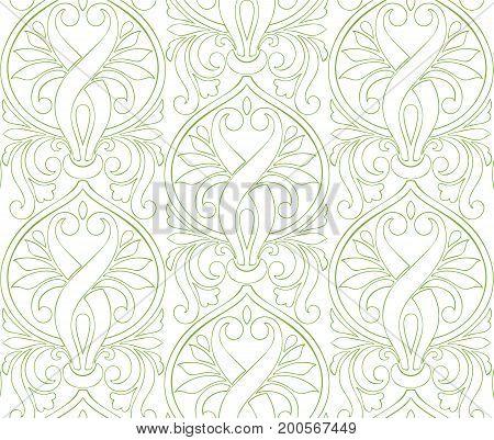 Greenery damascus seamless pattern background, illustration.