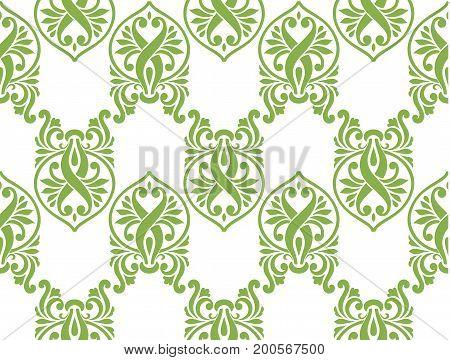 Green ecology damascus seamless pattern background, illustration.