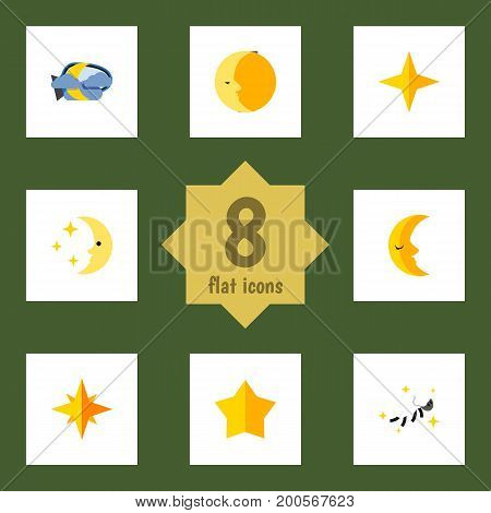 Flat Icon Midnight Set Of Star, Midnight, Nighttime And Other Vector Objects