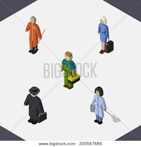 Isometric Person Set Of Plumber, Cleaner, Hostess And Other Vector Objects