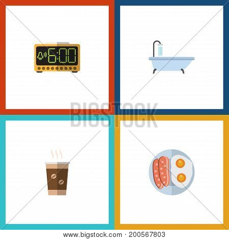 Flat Icon Life Set Of Cappuccino, Tub, Fried Egg And Other Vector Objects