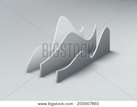 3d graph shapes. Data analysing infographic concept. Vector stock exchange illustration. Financial data infographics. Business stats visualisation.