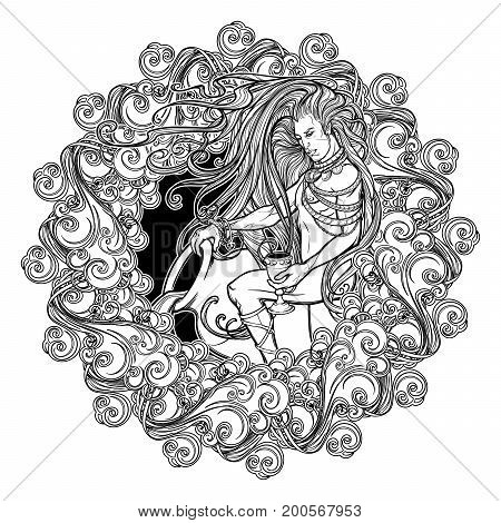 Zodiac sign Aquarius. Alchemy element - Air. Young man with long hair holding large amphora. Frame of curly clouds. Vintage art nouveau style concept art for horoscope, tattoo or colouring book.