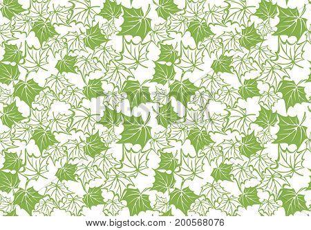 Greenery maple eco seamless pattern background, illustration.