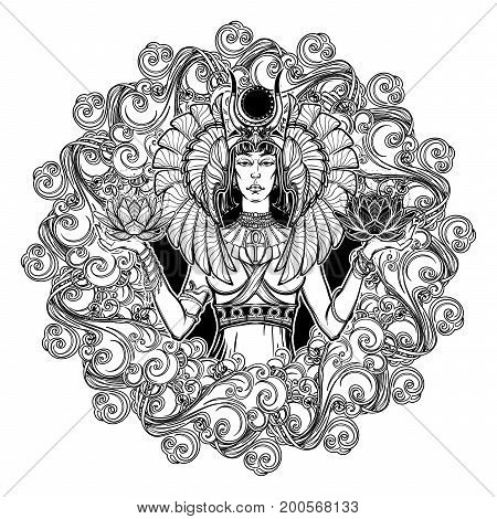 Zodiac sign Libra. Egyptian goddess Isis balancing in hands black and white lotus as a symbol of equilibrium. Decorative frame of clouds. Vintage art nouveau style concept art for horoscope or tattoo