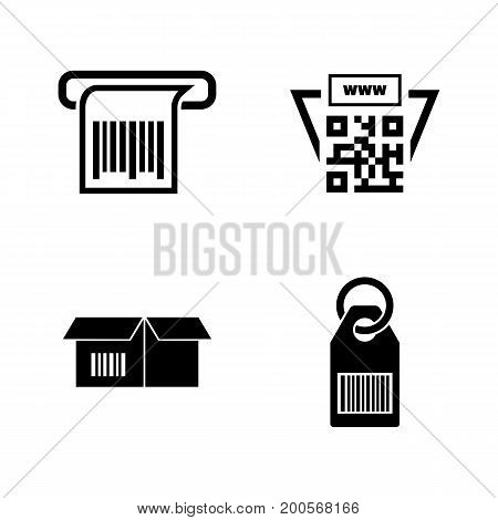 Barcode. Simple Related Vector Icons Set for Video, Mobile Apps, Web Sites, Print Projects and Your Design. Black Flat Illustration on White Background.