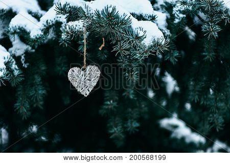 Grey Handmade Heart On Branches