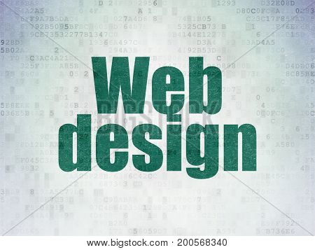 Web design concept: Painted green word Web Design on Digital Data Paper background