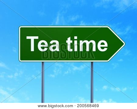 Time concept: Tea Time on green road highway sign, clear blue sky background, 3D rendering