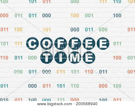 Time concept: Painted blue text Coffee Time on White Brick wall background with Binary Code