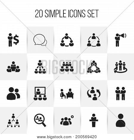 Set Of 20 Editable Cooperation Icons. Includes Symbols Such As Finance Director, Speaker, Conversation And More