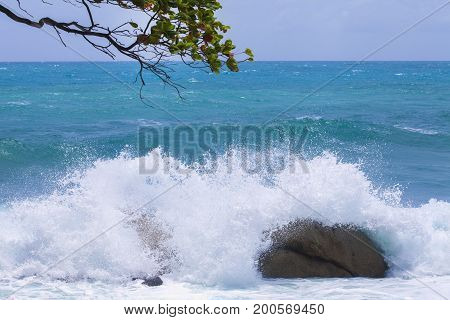 Stormy ocean waves beautiful seascape big powerful tide in action storm weather in a deep blue sea forces of nature natural disaster.ocean wave