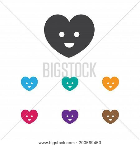 Vector Illustration Of Kin Symbol On Smiling Heart Icon