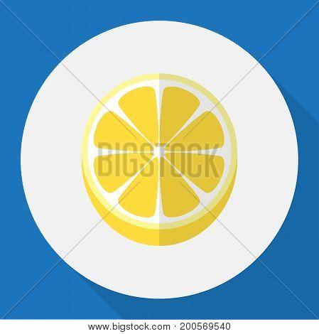 Vector Illustration Of Dessert Symbol On Lemon Flat Icon